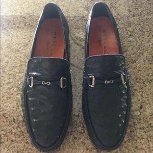 Mezlan Vittorio Black Ostrich Skin Loafers SZ 9.5